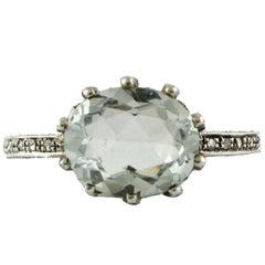Gold Silver Diamond Aquamarine Solitaire Ring