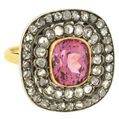 Natural Pink Spinel Rose Cut Diamond Ring