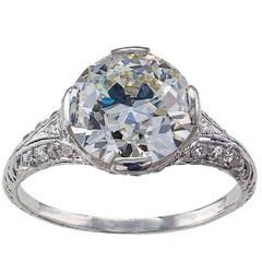 GIA 2.73 Carat Edwardian Platinum Engagement Ring