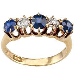 G. Seifert Victorian Diamond Sapphire Five-Stone Gold Ring Band