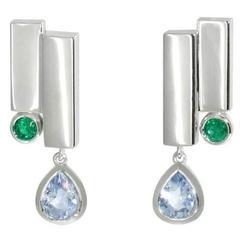 Lizunova Sapphire, Emerald White Gold Drop Earrings