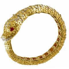 18 Carat Gold Diamond Italian Snake Bracelet, circa 1980