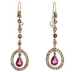 Edwardian Ruby and Diamond Long Drop Earrings, circa 1910