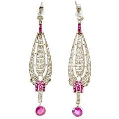 Diamond and Natural Ruby Platinum Set Drop Earrings, circa 1910-1920