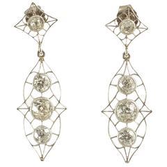 Art Nouveau Diamond Drop Platinum Earrings
