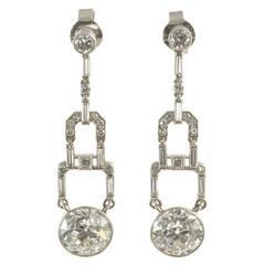Art Deco Diamond Drop Earrings Approximately 2 Carat Each Drop