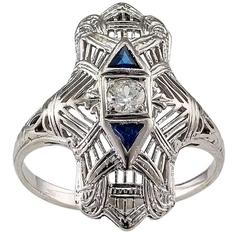 1930s Art Deco Dinner Ring Diamond White Gold