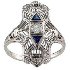 1930s Art Deco Dinner Ring Diamond White Gold
