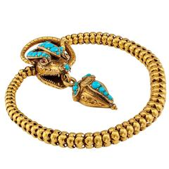 Victorian Cobra Snake Gold Bracelet with Turquoise and Garnets