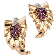 Tiffany & Co. Ruby Diamond Gold Acanthus Leaves Retro Ear Clips