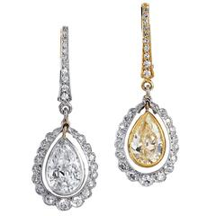 H & H Morphosis 2.70 Carat Diamond Gold Platinum Dangle Lever-Back Earrings