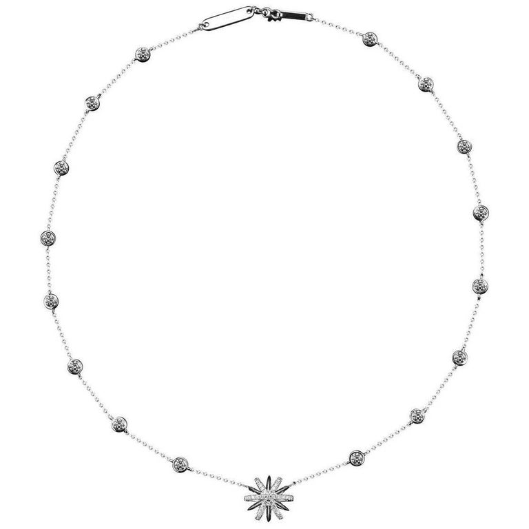 Alexandra Mor Diamond Platinum Snowflake Pendant and Bezel-Set Diamonds Necklace For Sale