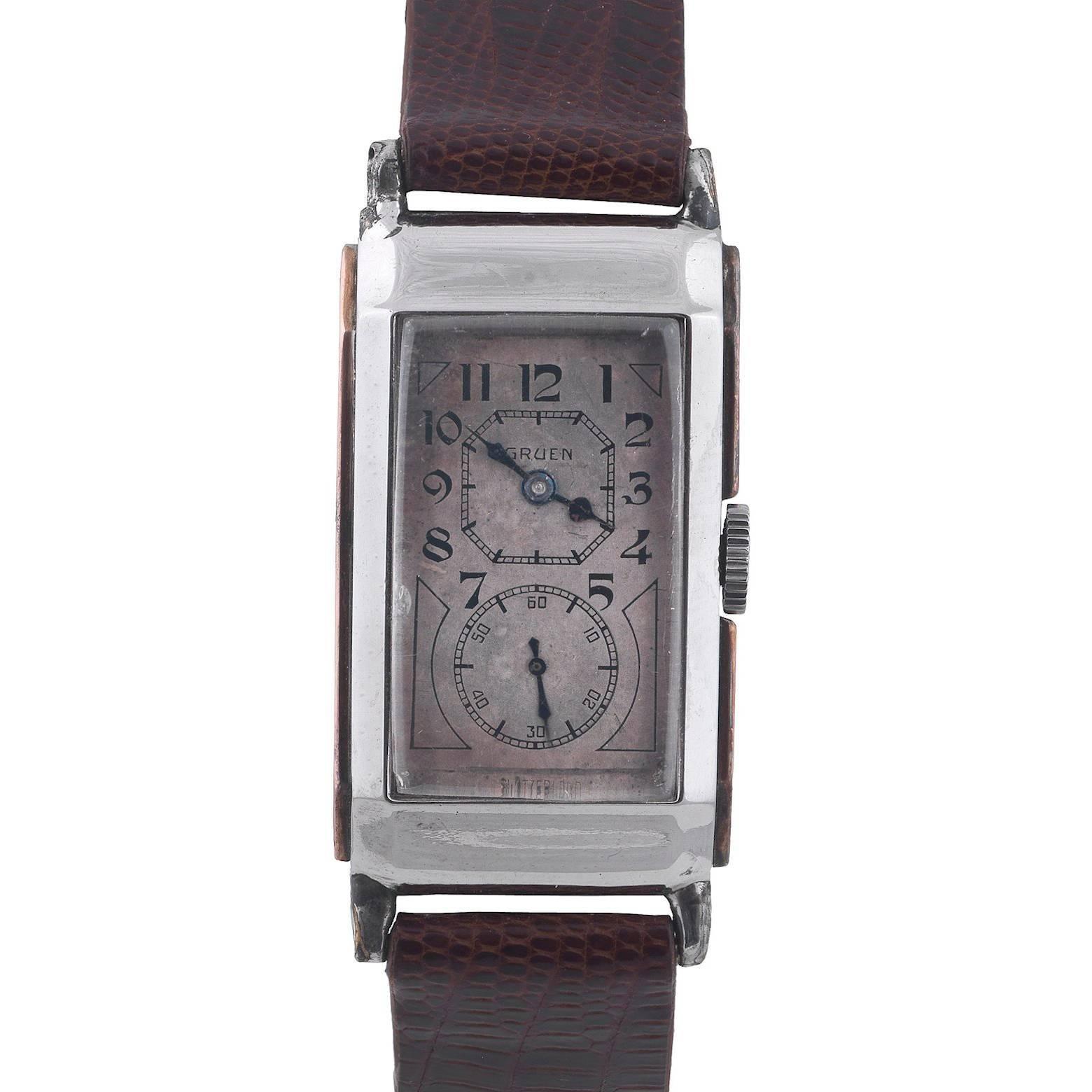 Gruen Gold Stainless Steel Alloy Doctor's Wristwatch, circa 1930s