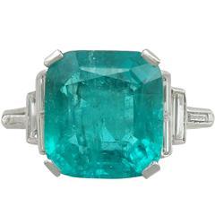 1930s 5.00 Carat Colombian Emerald Diamond Platinum Cocktail Ring