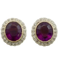 1900s 15.04 Carat Amethyst and Diamond Yellow Gold Silver Set Stud Earrings