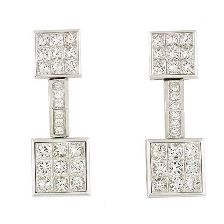 Mouawad 4.20 Carat Diamonds White Gold Earrings
