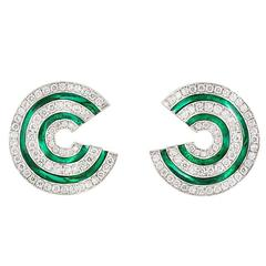 Diamond Green Enamel Gold Creole Earrings