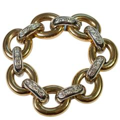 Diamond Gold Oval Link Bracelet