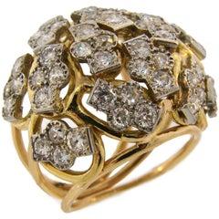 Seaman Schepps Diamond Yellow Gold Platinum Ring, 1950s
