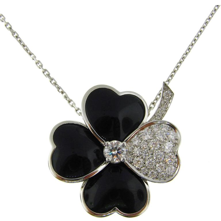 Van Cleef & Arpels Cosmos Black Onyx Diamond White Gold Pendant Clip Pin Brooch