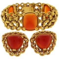 1980s Hermes Carnelian Yellow Gold Earrings and Bracelet Set