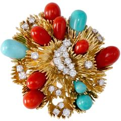 Tiffany & Co. Coral Turquoise Diamond Gold Brooch