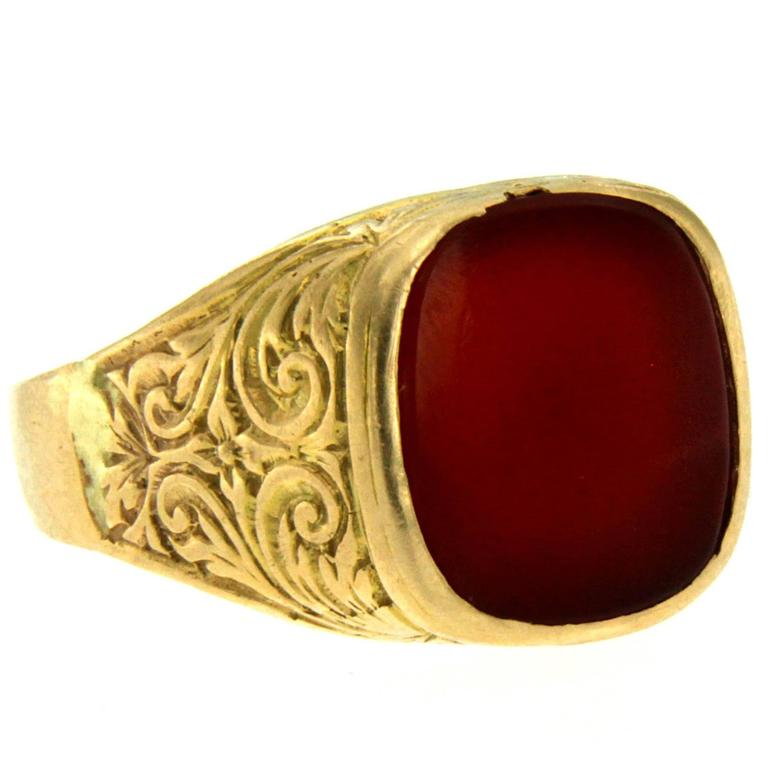 antique gold carnelian signet ring at 1stdibs