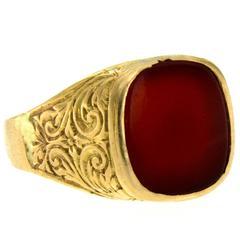Antique Gold Carnelian Signet Ring