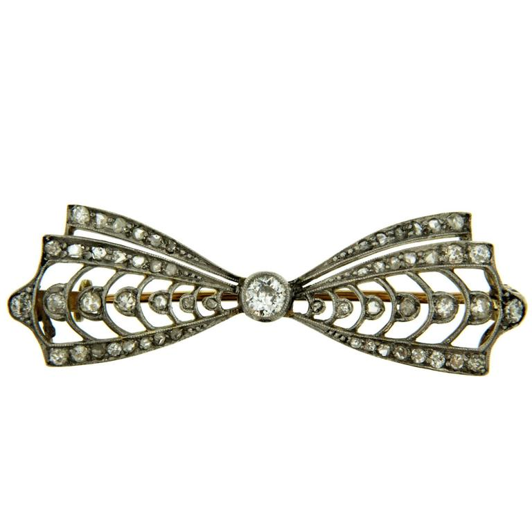 Victorian Diamond Gold Brooch