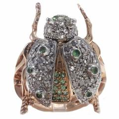 Tsavorite Diamond Silver Rose Gold Ladybug Fashion Ring