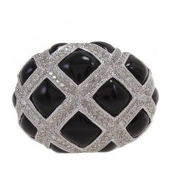 Onyx and Diamond Dome Ring