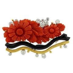 1960s 1.65 Carat Diamond Carved Coral Onyx Brooch Pin Pendant