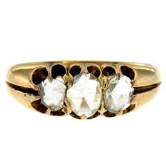 Georgian Diamond Gold Three-Stone Ring