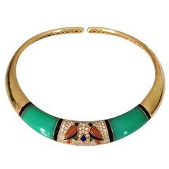 Circa 1980 Green Onyx 18 Karat Gold Diamonds Van Cleef & Arpels Necklace