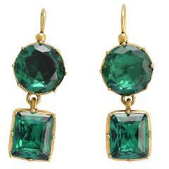 Antique Georgian Vibrant Green Paste Earrings