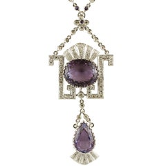 Gold Diamond Amethyst Pendant Necklace