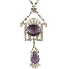 Gold Diamond Amethyst Pendant Necklace
