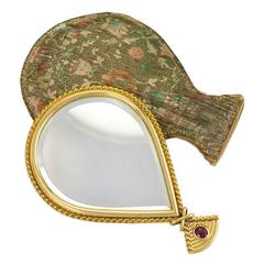 Cartier Retro Gold Hand Mirror with Original Silk Case