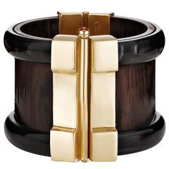 Fouche Bespoke Horn Wood Ruby Emerald Fire Opal Cuff Bracelet
