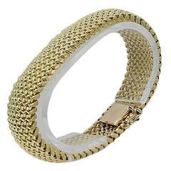 Wide Mesh Yellow Gold Bracelet