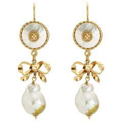 Couleurs de Geraldine Yellow Gold Dangle Pearl Earrings Interchangeable