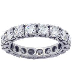 2.70 Carat Brilliant Cut White Diamond White Gold Eternity Ring Band