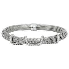 Diamond Mesh White Gold Bangle Bracelet