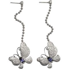 Iolite Silver Platinum Textured Butterfly Drop Dangle One of a Kind Earrings