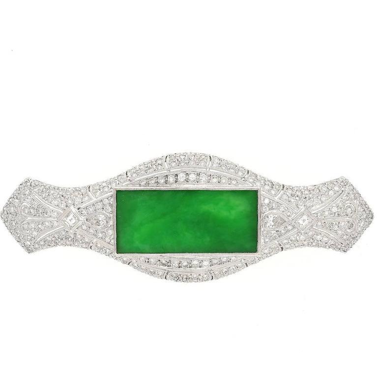 Jadeite Jade Diamond White Gold Brooch Pin