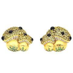 C. Bonnetaud Natural Beryl Emerald Diamond Yellow Gold Earrings