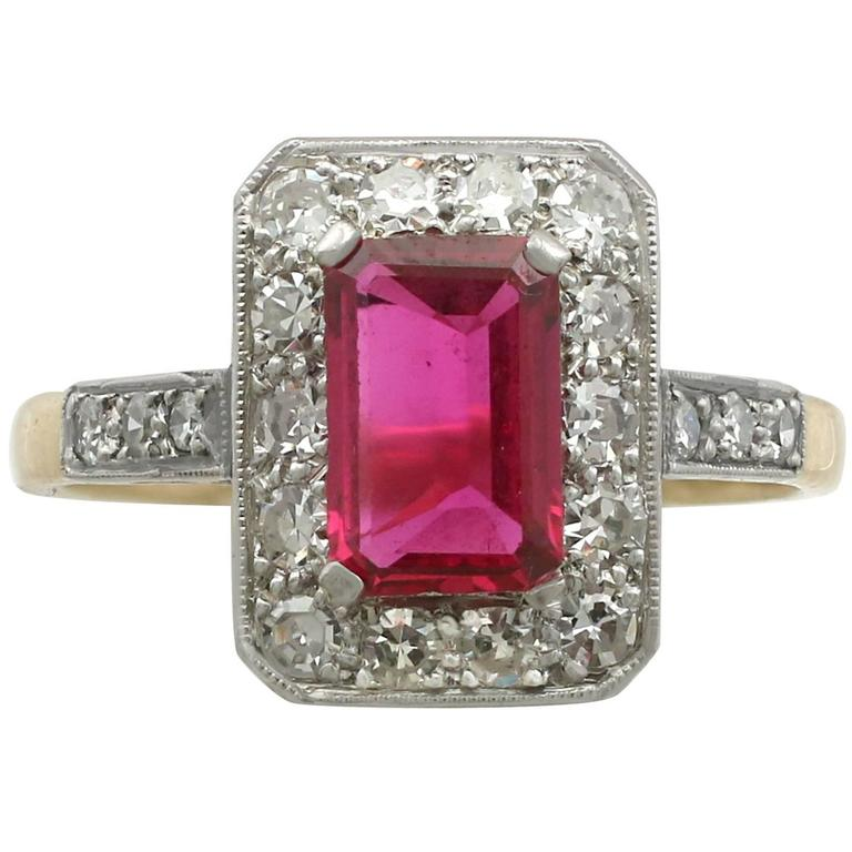 Antique Synthetic Ruby and 0.78 Carat Diamond 18 Karat Yellow Gold Cocktail Ring