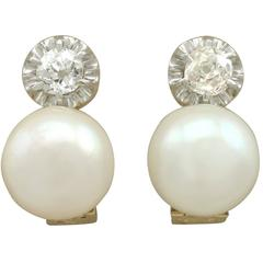 Cultured Pearl and 0.36 Carat Diamond, 15 Karat Yellow Gold Drop Earrings