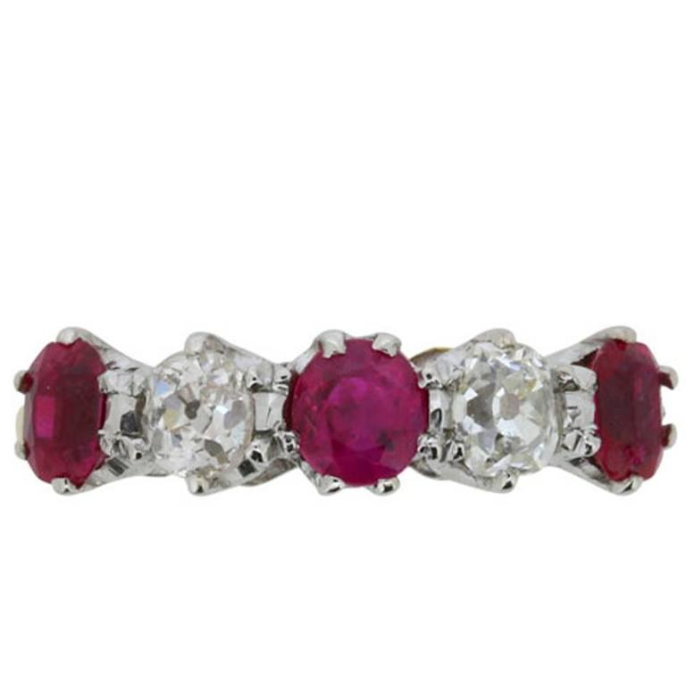 Antique Ruby and Diamond Five-Stone Ring, circa 1910s