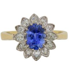 Vintage Sapphire and Diamond Flower Cluster Ring, circa 1940s